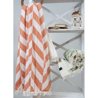 Плед микроплюш Barine Fishbone Throw orange 125x170 см
