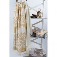 Плед микроплюш Barine Rug Throw mustard 130x170 см